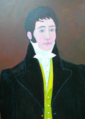 "(CreativeWork) ""The Young Dandy"" Original Colonial-style Portrait of a Young Man by Fran Caldwell. Acrylic Paint. Shop online at Bluethumb."