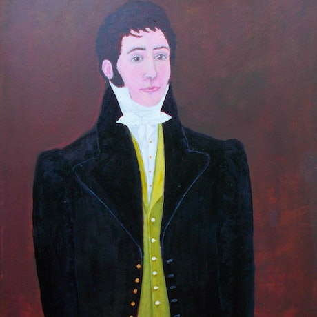 """(CreativeWork) """"The Young Dandy"""" Original Colonial-style Portrait of a Young Man by Fran Caldwell. Acrylic Paint. Shop online at Bluethumb."""