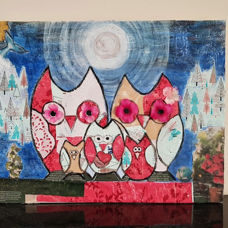 (CreativeWork) An Owls Dream collage Whimsical  by Sylvia Nobes. Mixed Media. Shop online at Bluethumb.