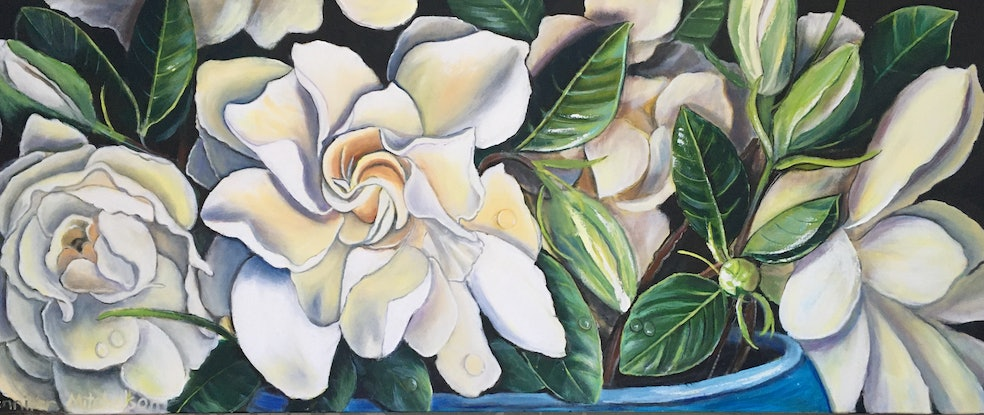 (CreativeWork) Gardenia flowers from the garden by Jennifer Mitchelson. Mixed Media. Shop online at Bluethumb.