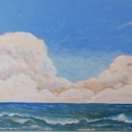 "(CreativeWork) ""Sea Change""  Storm Coming.  Original Acrylic on Canvas Seascape. by Fran Caldwell. Acrylic Paint. Shop online at Bluethumb."