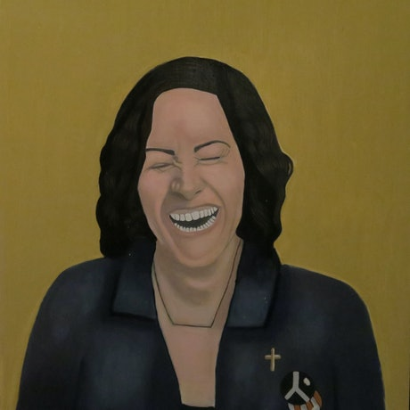 (CreativeWork) Sarah Laughing by Tony E Perks. Oil Paint. Shop online at Bluethumb.