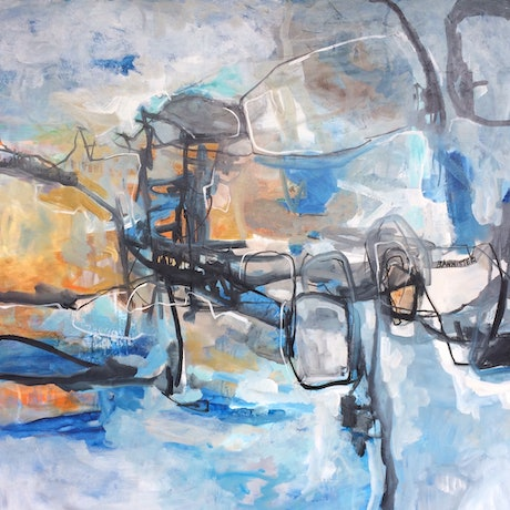 (CreativeWork) Abstract objects by sue bannister. Oil Paint. Shop online at Bluethumb.