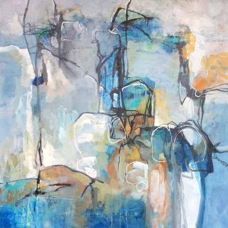 (CreativeWork) Abstract objects 2 by sue bannister. Oil Paint. Shop online at Bluethumb.