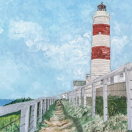 (CreativeWork) Cape Morteon Lighthouse by Paul Crowe. Oil Paint. Shop online at Bluethumb.