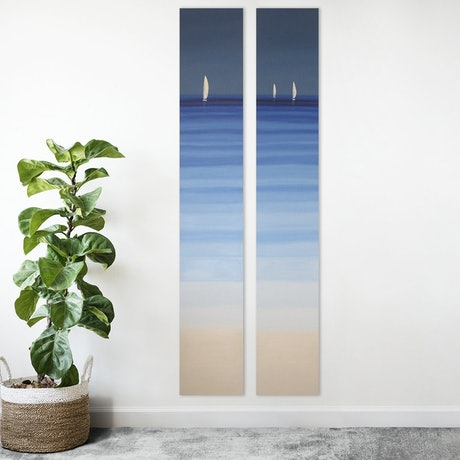 (CreativeWork) White Sailing Boats I and II 183 cm x 67 cm seascape abstract by Elena Parashko. Oil Paint. Shop online at Bluethumb.