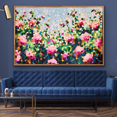 (CreativeWork) TEA ROSES 152x102 FRAMED LARGE TEXTURED ABSTRACT  by Sophie Lawrence. #<Filter:0x00007f9c5c505de8>. Shop online at Bluethumb.