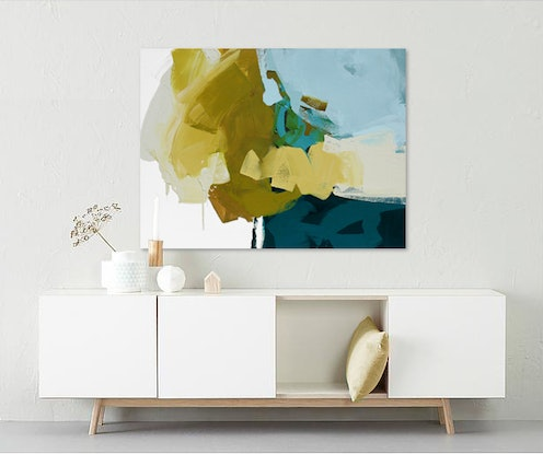 (CreativeWork) Mei -  large blue, mustard abstract painting by Stephanie Laine. Acrylic Paint. Shop online at Bluethumb.