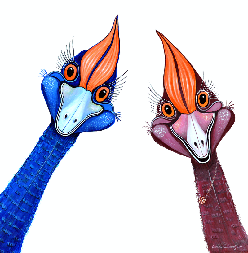 (CreativeWork) Curious Cassowaries by Linda Callaghan. Acrylic Paint. Shop online at Bluethumb.