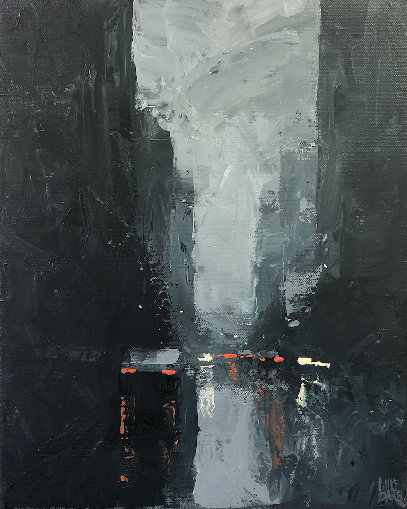 (CreativeWork) Drought Breaker - rainy cityscape painted with knife and texture by Mike Barr. Acrylic Paint. Shop online at Bluethumb.