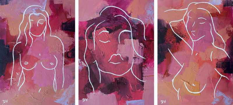(CreativeWork) SHE IS No 16 set of three by Damien Venditti. Oil Paint. Shop online at Bluethumb.