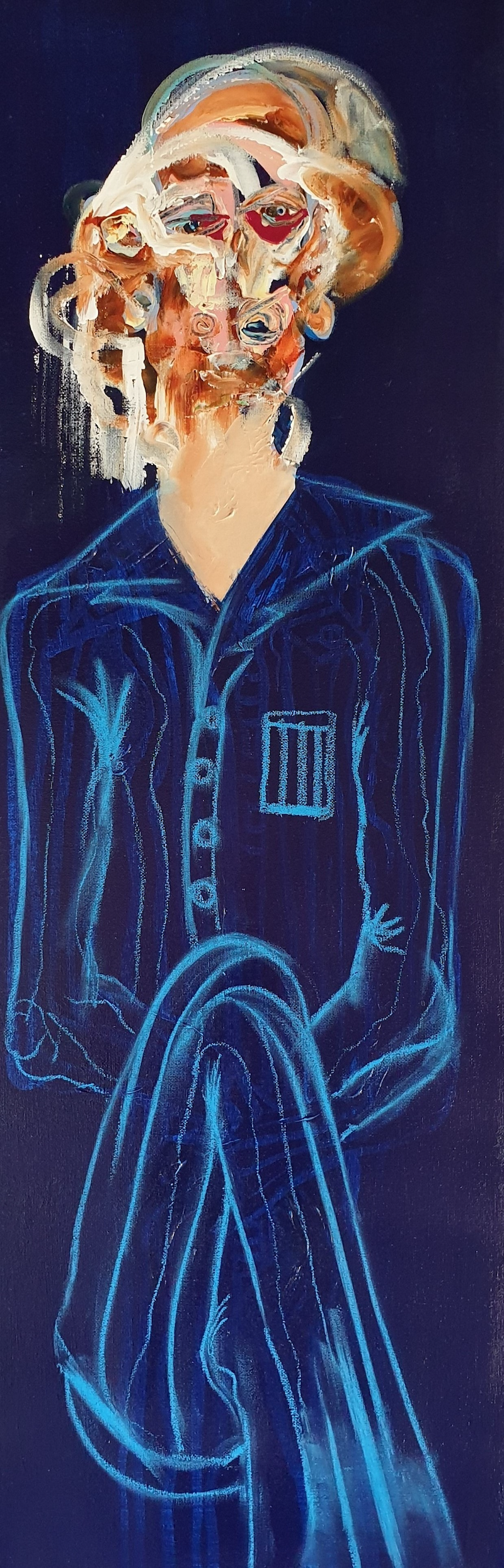 (CreativeWork) seated man in blue by STEPHEN Homewood. Mixed Media. Shop online at Bluethumb.