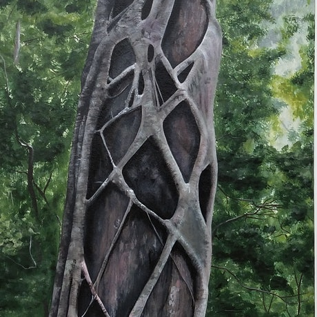 (CreativeWork) Hold Tight - strangler fig by Lisa Gaudron. Acrylic Paint. Shop online at Bluethumb.