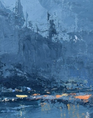 (CreativeWork) Home-time Rain - Rainy-day cityscape  by Mike Barr. Acrylic Paint. Shop online at Bluethumb.
