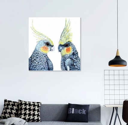 (CreativeWork) Cheeky Cockatiels by Linda Callaghan. Acrylic Paint. Shop online at Bluethumb.
