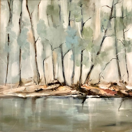 (CreativeWork) Riverbank. by Marion Rispin. Oil Paint. Shop online at Bluethumb.