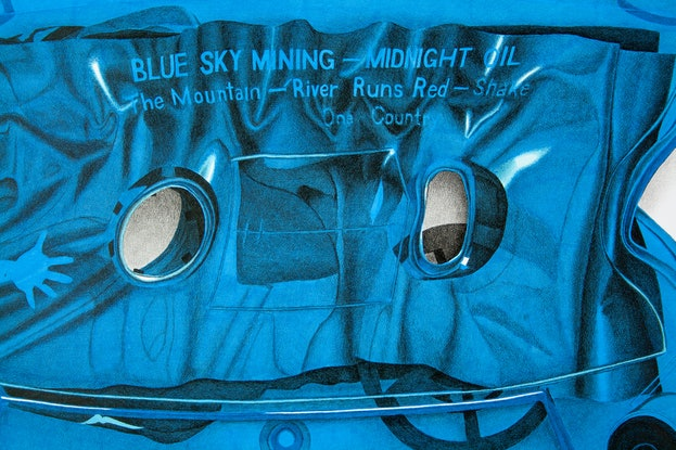 (CreativeWork) Midnight Oil Blue Sky Mining Cassette by Dean Spinks. Drawings. Shop online at Bluethumb.