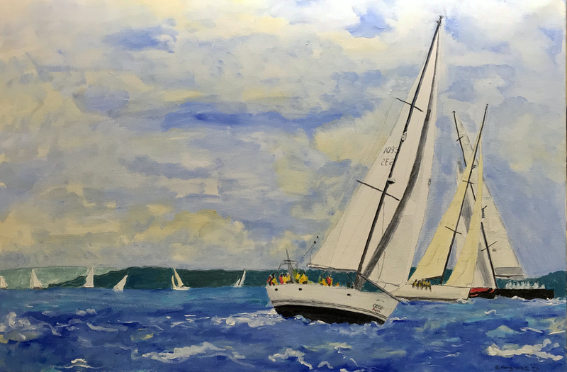 (CreativeWork) Whitsunday's Sail by Geoff Hargraves. Oil Paint. Shop online at Bluethumb.