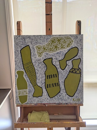 (CreativeWork) 'The Dinner Party' by Karen Lee. Acrylic Paint. Shop online at Bluethumb.