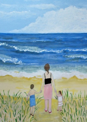 """(CreativeWork) """"Just looking"""".  Original Acrylic on Canvas Figurative Seascape.  by Fran Caldwell. Acrylic Paint. Shop online at Bluethumb."""