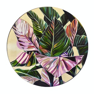 (CreativeWork) Blush Palm Porthole by Tamara Armstrong. Acrylic Paint. Shop online at Bluethumb.