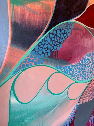 (CreativeWork) Meander 2 by Rebecca Warr. Acrylic Paint. Shop online at Bluethumb.