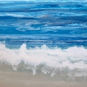 "(CreativeWork) Ocean design on canvas ""Sand Between My Toes"" by Debra Ryan. #<Filter:0x00007fef41aed778>. Shop online at Bluethumb."