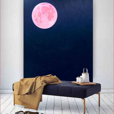 (CreativeWork) Pink moon by Donna Christie. #<Filter:0x00007fa57cc1d8a0>. Shop online at Bluethumb.