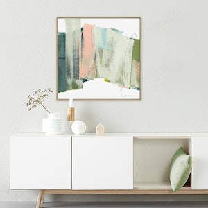 (CreativeWork) Slice - Square apricot, sage abstract by Stephanie Laine. #<Filter:0x00007fbc710e66b0>. Shop online at Bluethumb.