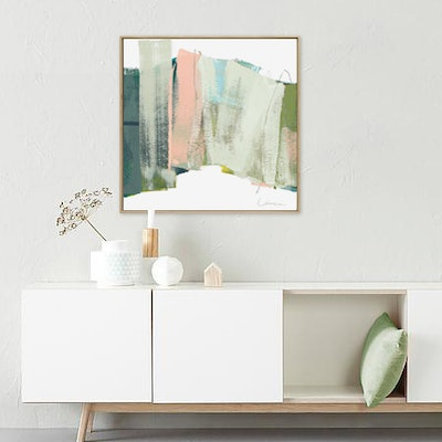 (CreativeWork) Slice - Square apricot, sage abstract by Stephanie Laine. #<Filter:0x00007f0648cdd070>. Shop online at Bluethumb.