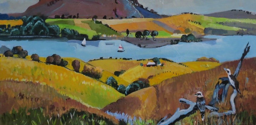 (CreativeWork) Australian landscape  - Golden Fields by Susan Trudinger. Acrylic Paint. Shop online at Bluethumb.