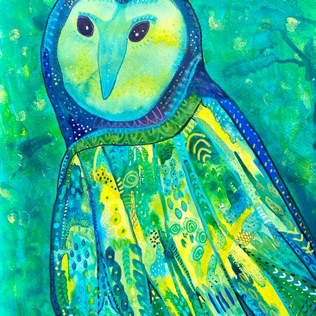 (CreativeWork) Mystical Owl  by Anna Just. Mixed Media. Shop online at Bluethumb.