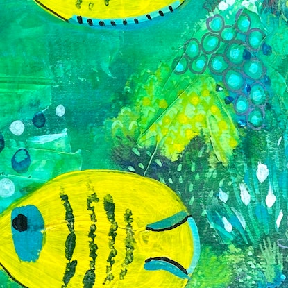(CreativeWork) Tropical Reef Fish School  by Anna Just. Mixed Media. Shop online at Bluethumb.
