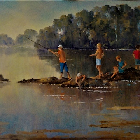 (CreativeWork) Fishing by Viv Gregory. Oil Paint. Shop online at Bluethumb.
