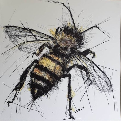 (CreativeWork) Bee Right Back  by Renee Mitchell. Mixed Media. Shop online at Bluethumb.