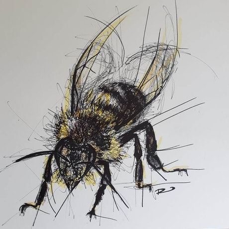 (CreativeWork) Bee Humble by Renee Mitchell. Mixed Media. Shop online at Bluethumb.