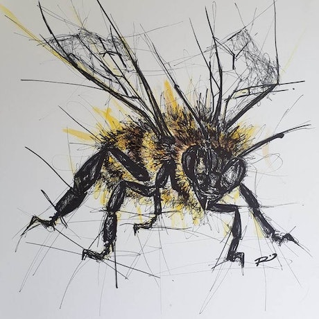 (CreativeWork) Bee Curious  by Renee Mitchell. Mixed Media. Shop online at Bluethumb.