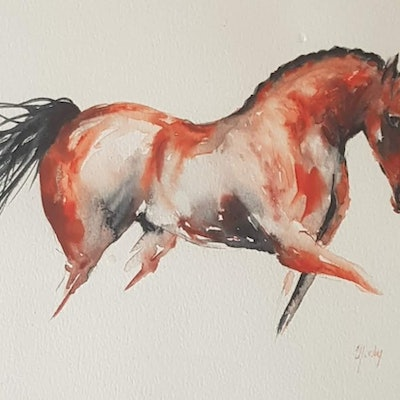 (CreativeWork) Thoroughbred  by Christine Manby. Watercolour Paint. Shop online at Bluethumb.