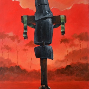 """(CreativeWork) """"Rust,dust and fire""""  from my Ned Kelly series       by Max Horst  Sokolowski. #<Filter:0x00007f7c500287e8>. Shop online at Bluethumb."""