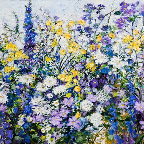(CreativeWork) Daydream in Blue by Karen Windle. Acrylic Paint. Shop online at Bluethumb.
