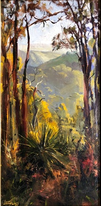 (CreativeWork) Hazy View by Leon Holmes. Oil Paint. Shop online at Bluethumb.