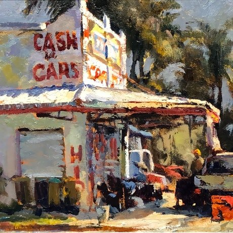 (CreativeWork) Cash for Cars by Leon Holmes. Oil Paint. Shop online at Bluethumb.