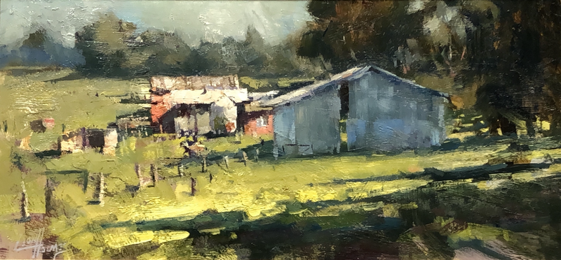 (CreativeWork) The Farm by Leon Holmes. Oil Paint. Shop online at Bluethumb.