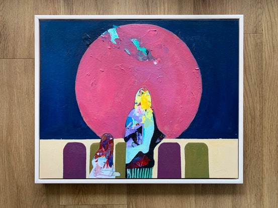 (CreativeWork) The rising red moon  by Yunn Ru Soo. Mixed Media. Shop online at Bluethumb.