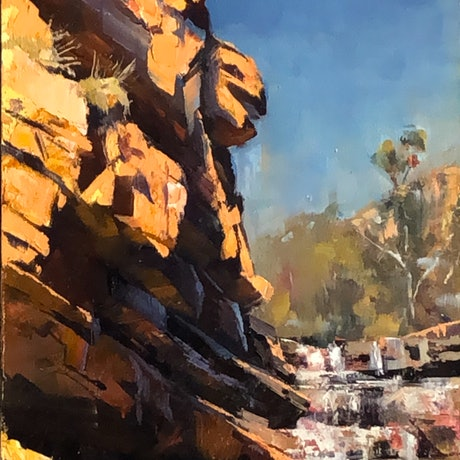 (CreativeWork) Bell Gorge Fall by Leon Holmes. Oil Paint. Shop online at Bluethumb.