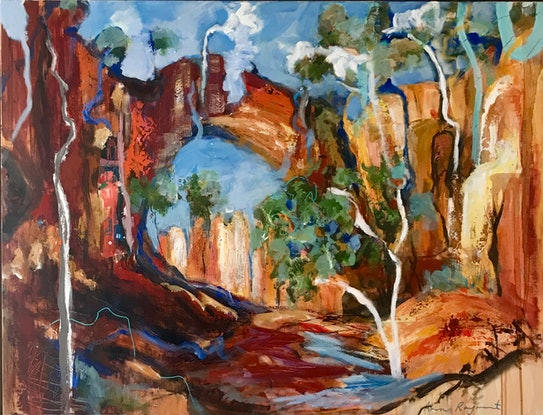 (CreativeWork) Golden Gully by Ann Rayment. Acrylic Paint. Shop online at Bluethumb.