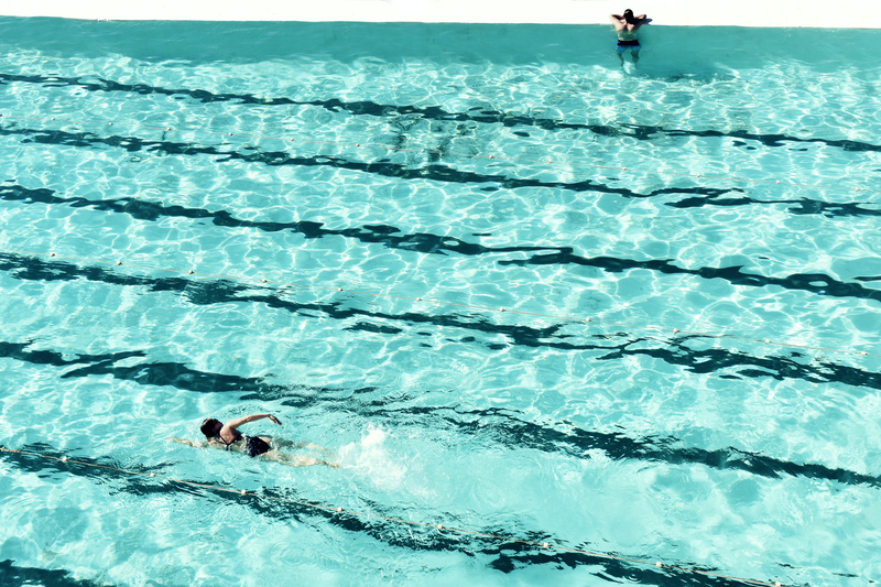 (CreativeWork) Swimmers and the pool Ed. 2 of 20 by Agus Gago. Photograph. Shop online at Bluethumb.