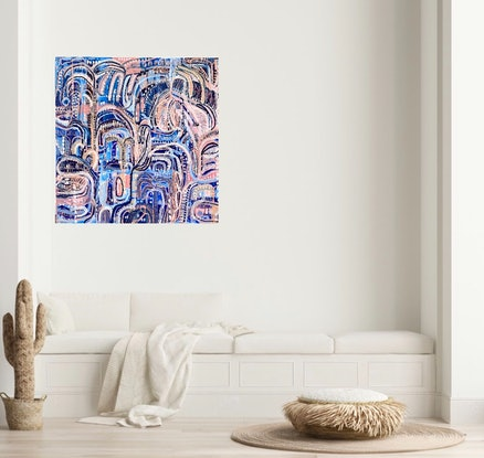 (CreativeWork) Surf Dreams and Palm Leaves by Carley Bourne. Acrylic Paint. Shop online at Bluethumb.