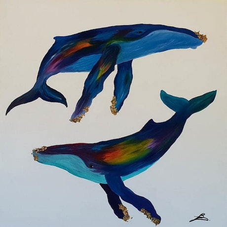 (CreativeWork) Humpback song by Jenny Baker. Acrylic Paint. Shop online at Bluethumb.