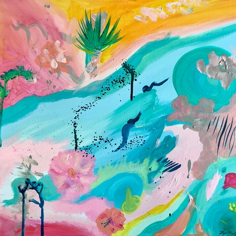 (CreativeWork) Summer Deluge   by Pip Phelps. Acrylic Paint. Shop online at Bluethumb.